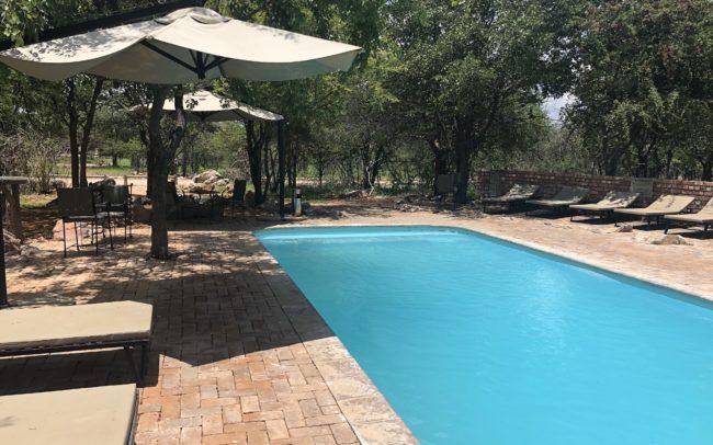 piscine du Taleni Etosha Village entourée de bains de soleil et d'une pirogue transformée en banc.